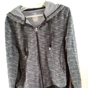 Danskin Now two tone gray and black hooded jacket